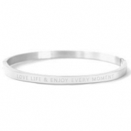 "Bracelets en acier inox ""LOVE LIFE AND ENJOY EVERY MOMENT"" Argenté"