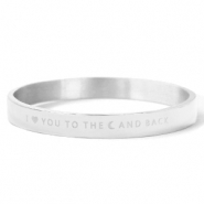 "Bracelets en acier inox ""I LOVE YOU TO THE MOON AND BACK"" Argenté"