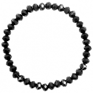 Bracelets perles à facettes 6x4mm Jet black-pearl shine coating