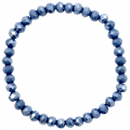 Bracelets perles à facettes 6x4mm Crown blue-pearl shine coating