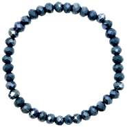 Bracelets perles à facettes 6x4mm Dark blue-pearl shine coating
