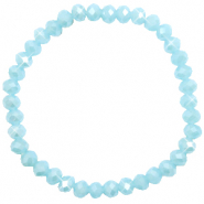 Bracelets perles à facettes 6x4mm Light blue-pearl shine coating