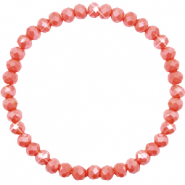 Bracelets perles à facettes 6x4mm Vintage rose peach-pearl shine coating