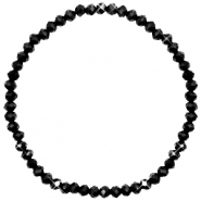 Bracelets perles à facettes 4x3mm Jet black-pearl shine coating