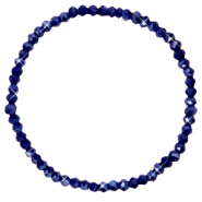 Bracelets perles à facettes 4x3mm Evening blue-pearl shine coating