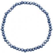 Bracelets perles à facettes 4x3mm Blue stone-pearl shine coating