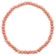 Bracelets perles à facettes 4x3mm Burnt orange-pearl shine coating