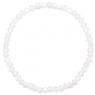 Bracelets perles à facettes 4x3mm White opal-pearl shine coating