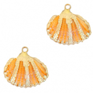 Perles coquillage specials Coque Doré-Orange nectarine