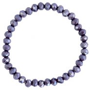 Bracelets perles à facettes 6x4mm Violet raisin-pearl shine coating