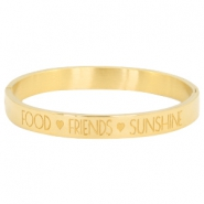 "Bracelet en acier inox avec quote ""FOOD?FRIENDS?SUNSHINE"" doré"